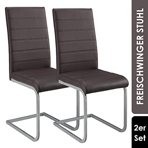 ArtLife Freischwinger Stuhl Vegas 2er Set   Kunstleder Bezug + Metall Gestell   120 kg belastbar   braun   Esszimmerstühle Schwingstühle