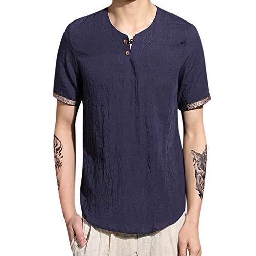 Tyoby Herren Baggy Baumwolle Leinen Volltonfarbe Kurzarm Retro T-Shirts Tops Bequem Schnitt Herrenbekleidung(Marine,L)