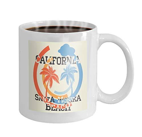 11 oz Coffee Mug santa monika california beach typography sport emblem vintage wear print design Novelty Ceramic Gifts Tea Cup
