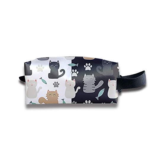 Free Cat Pattern Women Cosmetic Bag Travel Girls Oxford Toiletry Bags Funny Portable Hanging Organizer Makeup Pouch Pencil Case