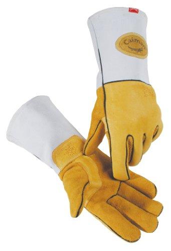 Kaimane 1858–4Medium Wolle gefüttert Heavy echten amerikanischen Elk Haut Metall Inertgas und Stick Schweißen Handschuh, Gold und Grau (Stick-schweißen Handschuhe)