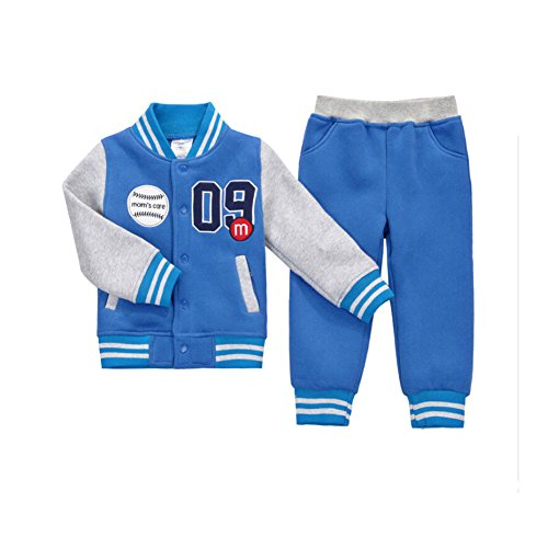 CuteOn Bambini delle Ragazze dei Ragazzi Manica Lunga Baseball Tuta Giacca + Pantalone del Vestito di sport Outfits Set Blu 4-5 Anni