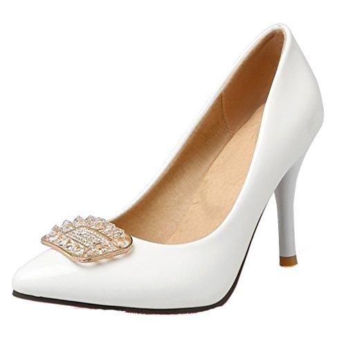YE Damen Lackleder High Heels Spitze Stiletto Pumps mit Strass Roter Sohle 10cm Absatz Office Work Kleid Schuhe Weiß