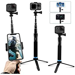 AuyKoo Perche à Selfie Bâton pour Gopro, 2 en 1 Trépied Support Extensible pour Montage pour DJI OSMO Action Cam, Monopode pour poignée étanche avec Clip de Rotation pour GoPro Hero 7/6/5/4 Fusion
