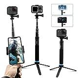AuyKoo Palo Selfie Stick para Gopro, Mini Soporte de trípode para cámara acción, Monopie de empuñadura para GoPro Hero 7/6/5/4/3, Fusion, Session, DJI OSMO Action Camara