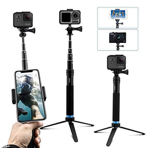 AuyKoo Bastone Selfie per Gopro Asta Selfie Stick Telescopico Palo di Estensione con Monopiede Pole con Sistema di Chiusura Treppiede per Cellulare, Fotocamera, DJI OSMO Action Camera
