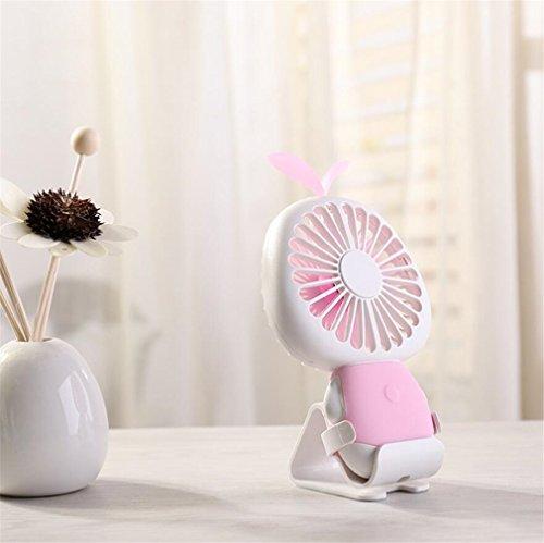 ELEGENCE-Z Stern Gras Mini Fan USB Lade LED Bunte Nachtlicht Kinder Mini Fan Hause Schlafsaal Im Freien Perfekte Begleiter,Pink