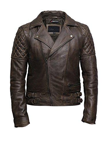 Brandslock Herren Leder Biker Jacke Cross Zip Brando Retro Casual Vintage gewaschene braune...