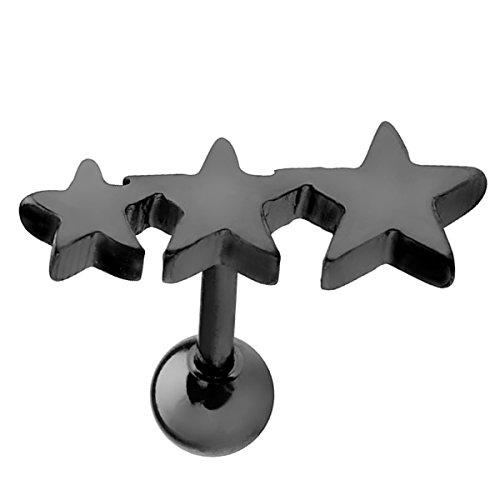 Piersando Tragus Helix Ohr Piercing Cartilage Knorpel Stab Stecker 316 L Chirurgenstahl mit 3 Sternen Schwarz