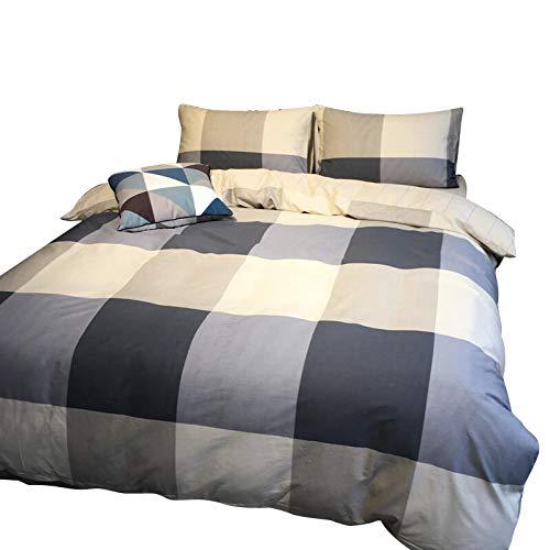 HMEIGUI Bettbezug-Sets Bettwäsche - 100% Reine Baumwolle - Plaid-Set mit Spannbetttuch, Bettwäsche Tröster-Set Pflegeleicht-Set,Gray_Full Size -
