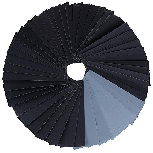 Zacro Schleifpapier Set 51 Stück 120 bis 3000 Grit Schleifpapier Sortiment Trocken und Nass 9 x 3,6 Zoll geeignet für Auto Stein Holzmöbel Glas Lack Metall usw.