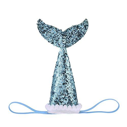 Everpert Hund Geburtstag Hat Glitzer Pailletten Hunde Fisch Schwanz Tasse mit Kopfbedeckungen Elastic Kostüm Party Haarband