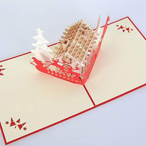 QLRL 3D Weihnachtshaus-Gruß-Karten-Geburtstags-Karten-Feiertags-Wunsch-Karten-Papiergeschenk-Karten-Dekoration
