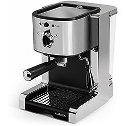 Klarstein Passionata 20 Máquina de café espresso • Cappuccino • Capacidad para 6 tazas • Depósito extraíble • Boquilla de vapor • Espumadora de leche • Acero inoxidable • Plateado