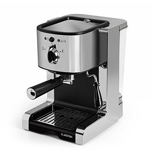 Klarstein Passionata Rossa 20 SS • Macchina per Caffè Espresso • Macchina da Caffè • 1350 Watt • 20 Bar • Serbatoio 1,25 l • Ugello per Schiumare il Latte • Argento