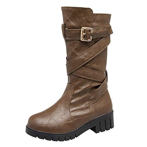 Frenchenal Bottes éQuitation Cuir Ankle Boots Femme Talon Compensé Bottines à Lacets Chaussure Femmes Talon Sexy Hiver