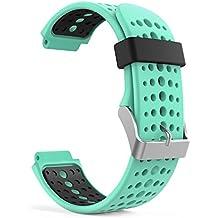 MoKo Forerunner 235 / 220 / 230 / 620 / 630 / 735 Correa - Reemplazo Suave Silicona Watch Band Deportiva Accessorios de Reloj Pulsera Ajustable con Cierre de Clip para Garmin Forerunner 235 Smart Watch, Menta Verde & Negro