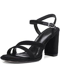 KJJDE Sandalias Mujer Zapatilla Chanclas WSXY-L0303 Zapatos de Tacón Grueso Confort Tacón Zapatos Para Caminar