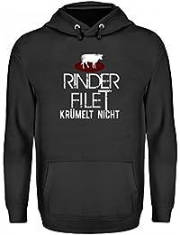 Hochwertiger Unisex Kapuzenpullover Hoodie - Rinder Filet Krümelt Nicht! - schlichtes und witziges Design