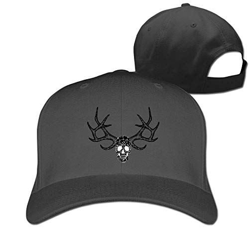 Xukmefat Classic Cotton Hat Adjustable Plain Cap, Bones and Antlers Plain Baseball Cap Adjustable Size Curved Visor Hat XFG4629 Nascar-visor Hat