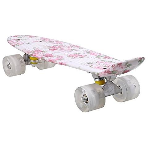 Ancheer Mini-Cruiser-Skateboard mit vielfarbigen Decken und Rollen,22 Zoll Kunststoff-Board im Retro-Stil (Blinkende Räder