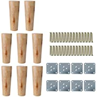 """sourcing map 6"""" Round Solid Wood Furniture Legs Sofa Chair Bed Desk Closet Cabinet Feet Replacement Set of 8"""