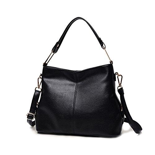 Damen weiches PU Leder Handtaschen Henkeltaschen Elegante Umhängetasche Schultertasche Designer Hobo Taschen groß für Frauen Mädchen - Schwarz (Große Weiche Hobo Handtasche)