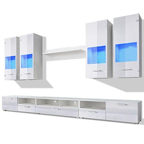 vidaXL Meuble TV à vitrine Murale Blanc avec lumière LED Bleu 8 Pièces