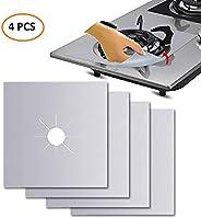 Rubik 4 pcs Gas Stove Burner Covers, Non-Stick Gas Range Protectors Reusable Aluminum Foil Cover Liner Mat Pad