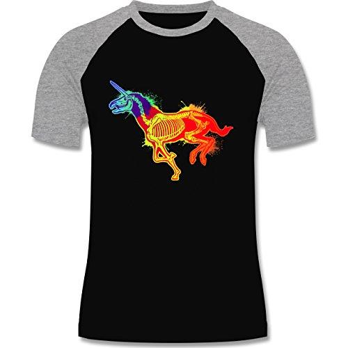 Comic Shirts - Einhorn Skelett - zweifarbiges Baseballshirt für Männer Schwarz/Grau Meliert