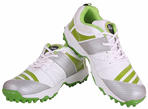 Proase Rubber Spikes Cricket Shoes (White/Green) - Size 9  available at amazon for Rs.1199