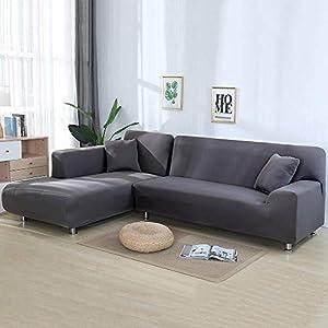 NIBESSER Sofabezug Sofaüberwürfe für L-Form Sofa elastische Stretch Sofabezug (1 Sitzer+1 Sitzer, Beige)