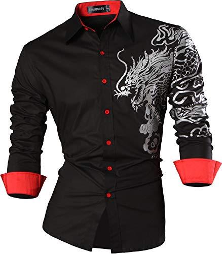 Herren Klassische Button-down-shirt (Sportrendy Herren Freizeit Hemden Slim Button Down Long Sleeves Dress Shirts Tops JZS041 Black L)