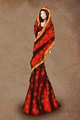 Red Saree: Vintage Style Fashion Illustration Soft Cover Journal, Diary, Notebook with Lined Pages Red Saree