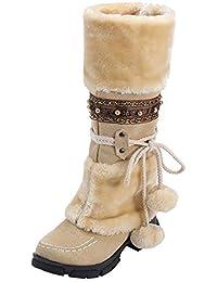 af1c13b70 LuckyGirls Botas de Ante para Mujer Bola Vellón Botines de Caña Alta Botas  Zapatos de Nieve
