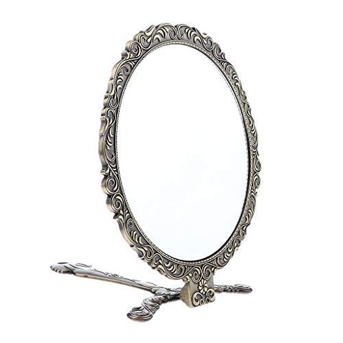 B Blesiya Großer Spiegel Friseurspiegel Handspiegel Kosmetikspiegel Nostalgie Vintage Shabby Chic mit Klappbar Griff - Bronze