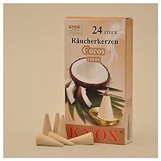 24 Stk. KNOX Räucherkerzchen Cocos, für gute Stimmung und gegen lästige Insekten mit angenehmen Duft, Cocos