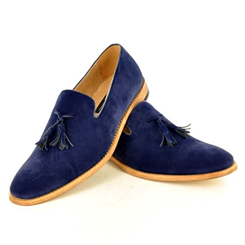 My Perfect Pair Da uomo, in pelle foderato slip on Suede nappa mocassini scarpe Navy blue