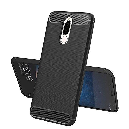 TopACE Huawei Mate 10 Lite Hülle, Flexiblem TPU Silikon Hybrid Schutzhülle Kohlenstoff-Fasern Tasche Slim-Fit Case für Huawei Mate 10 Lite (Schwarz)