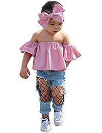 Camisa para Niñas Switchali Niños recién nacido Bebé Niña sin tirantes blusa suelto Camisetas algodón Tops para chica muchacha Verano Conjuntos de ropa bowknot blusas + venda barato