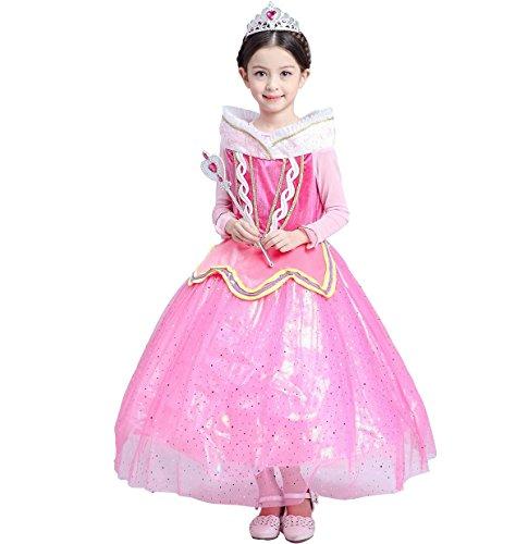 Aurora Kostüm Up Make (Aurora Kostüm sleeping beauty Rosa Prinzessin Kleid Mädchen Partei Kleiderzeremonie Abend)