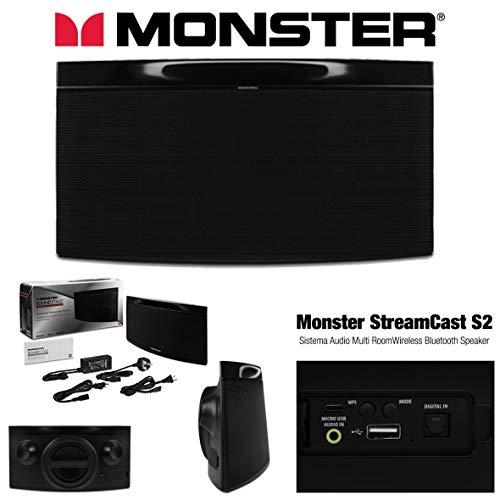 Monster StreamCast S2 - Professionelles Audiosystem Wi-Fi Bluetooth Multiroom, Schwarz