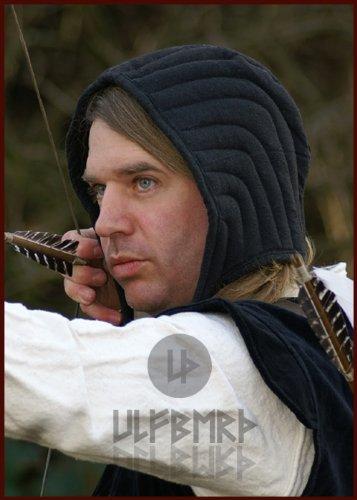 Ulfberth Gepolsterte Bundhaube, schwarz wattierte Unterziehaube für Helm und Kettenhaube Schaukampf und Freikampf -