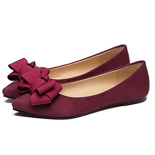 AalarDom Femme Non Talon Tire Suédé Carré Chaussures à Plat Rouge Vineux