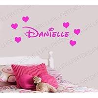 Disney stile nome personalizzato e cuori camera da letto decalcomania da parete in vinile 24colori disponibili si prega Messaggio con nome * * *, Fuchsia, 30 cm x 100 cm
