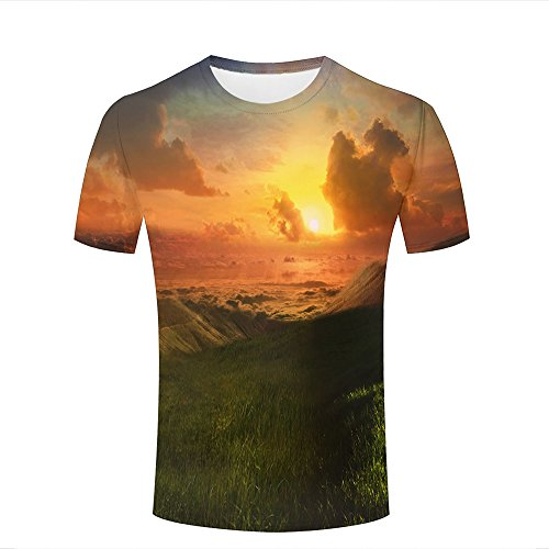 Mens womens 3d printed casual t-shirts retro green grass mountain sunset crewneck short sleeve fashion couple tees xxxl