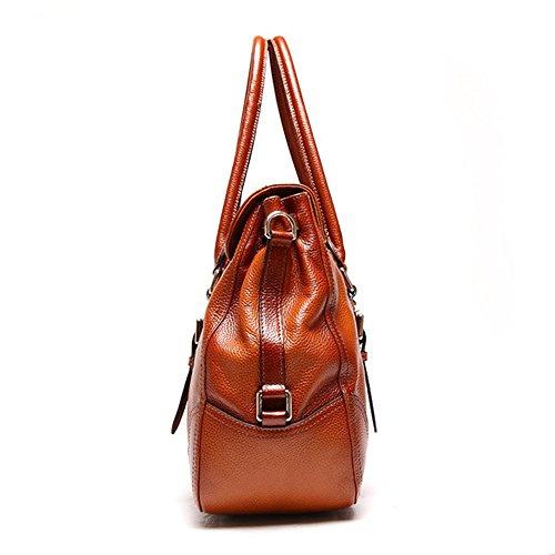 Delle Donne Myleas Vintage autentico Totes a tracolla in pelle borsa Messenger Bag Marrone
