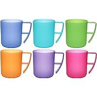 idea-station NEO vasos de plástico con mango, reutilizable, 350 ml, 6 piezas, en colores brillantes modernos o transparentes, utilizables como vasos de agua, vasos de cóctel, vasos de fiesta, taza de plástico son irrompibles, Farbe:bunt