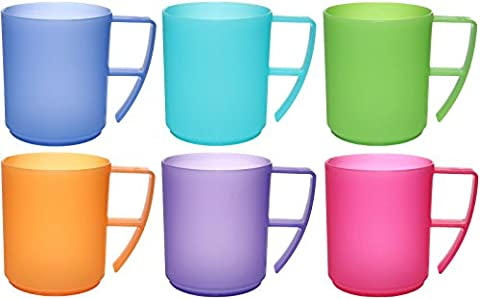 idea-station NEO Plastic cups with handles, multipurpose, 350 ml 6 pieces, colored or transparent, coffee and tea cup set 6-piece with handle as cappuccino cups, break-proof, unbreakable,