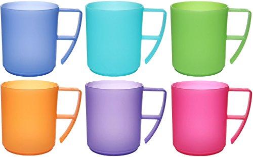 idea-station NEO Kunststoff-Tassen 6 Stück, 350 ml, mehrweg, bruchsicher, bunt, farbig, Griff, Henkel, Kaffee-Becher, Kaffe-Tassen, Kinder-Tassen, Plastik-Tassen, Kunststoff-Tassen